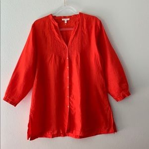 NWOT Eileen Fisher 100% Irish Linen Red Tunic M